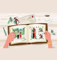 photo album with family photographs vector image