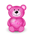 pink bear with heart vector image vector image