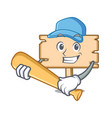 playing baseball wooden board character cartoon vector image vector image