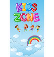 poster design with kids in blue sky vector image vector image