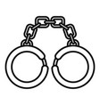 prison handcuffs icon outline style vector image vector image