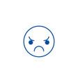 sad emoji line icon concept sad emoji flat vector image vector image