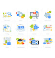 set flat design style concept icons on white vector image