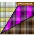 set of three tartan plaid samples vector image