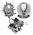 set vintage electrical emblems vector image
