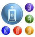 smartphone house control icons set vector image vector image