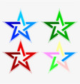 star abstract look of different colors set vector image