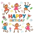 Stylish Happy birthday card with cute monkeys vector image vector image