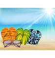 summer beach sandals colorful flip- flops with sun