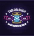 tailor shop neon design or emblem night vector image vector image