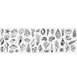 underwater world creatures doodle set vector image