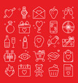 valentines day icon set in line style vector image vector image