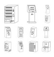 Variety of terminals outline icons in set