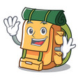 waving backpack character cartoon style vector image