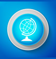white earth globe icon isolated on blue background vector image vector image