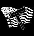 white silhouette weapont uzi with american flag vector image