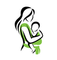 mom holding her baby in a sling vector image