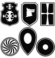 A set of silhouettes of military shields vector image vector image