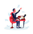 angry businessman sitting office workplace using vector image