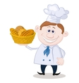 Baker with a basket of bread vector image
