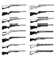 big set hunting guns rifles design element vector image