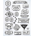 Black-white set of promotional english labels vector image vector image
