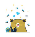blue and golden cute little bear licking honey vector image vector image