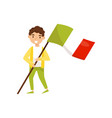 boy holding national flag of italy design element vector image