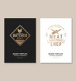 butcher meat shop with chicken badge or label vector image