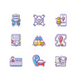 car sharing and rental service rgb color icons set vector image