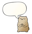 cartoon bear and speech bubble in smooth gradient vector image vector image