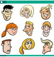 cartoon teenagers faces set vector image vector image