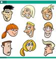 cartoon teenagers faces set vector image vector image