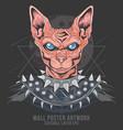 cat punk rider egypt metal rocker element vector image