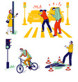 characters carelessness while use smartphones on vector image vector image