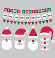 christmas decoration and santa hats and beard vector image vector image