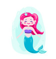 cute happy mermaids with pink hair and blue tail vector image vector image