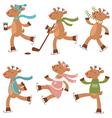 Cute skating deers vector image vector image