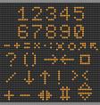 digital numbers and symbols orange signs on black vector image