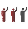 dissolving pixelated halftone hitchhike pose icon vector image vector image