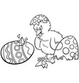 easter chick hatched from egg cartoon coloring vector image