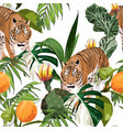 exotic animal tiger in jungle pattern vector image