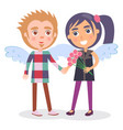 first date teenage couple in angel wings boy girl vector image vector image
