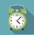 flat green alarm clock vector image