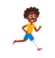 funny cartoon black man sportsman with prosthesis vector image