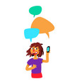 girl with comic bubbles and phone the girl is vector image