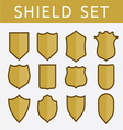 Gold shield set vector image