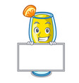 grinning with board mimosa character cartoon style vector image vector image