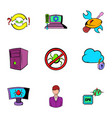 Hacker icons set cartoon style
