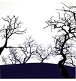 Halloween background with scary trees vector image